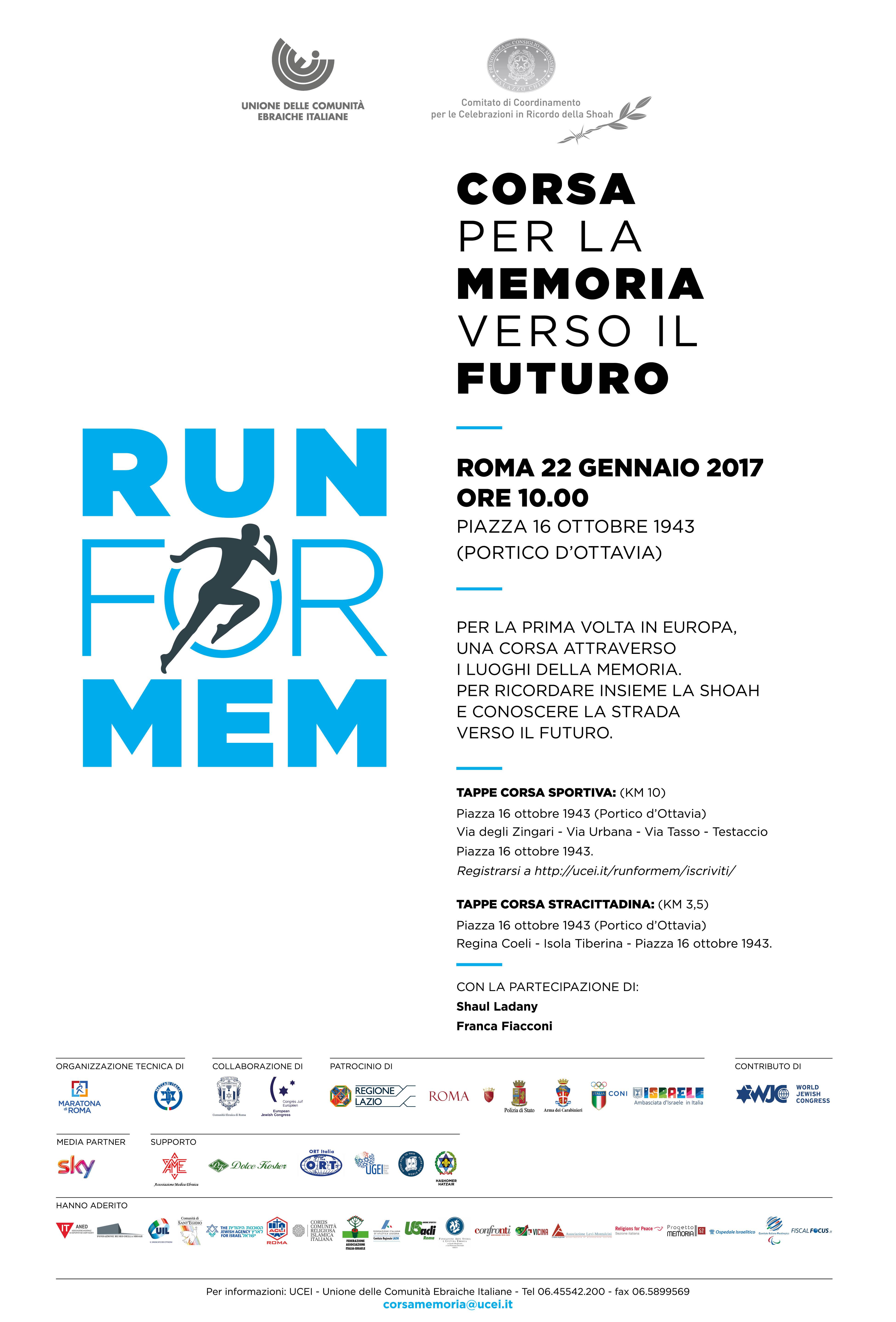 Locandina Run for Mem IT aggiornata al 9 gennaio